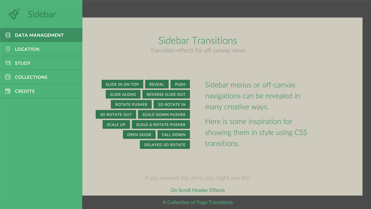 Sidebar Transitions - Effets de transitions sur la navigation