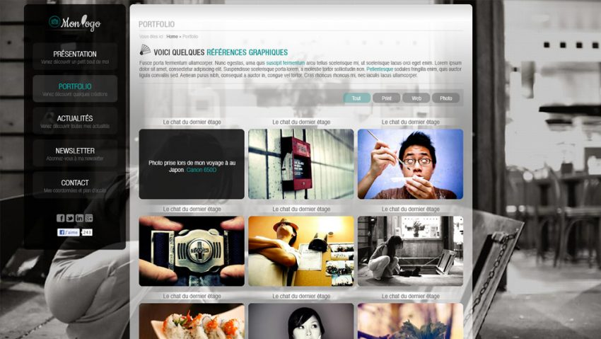 thème wordpress portfolio photoshop