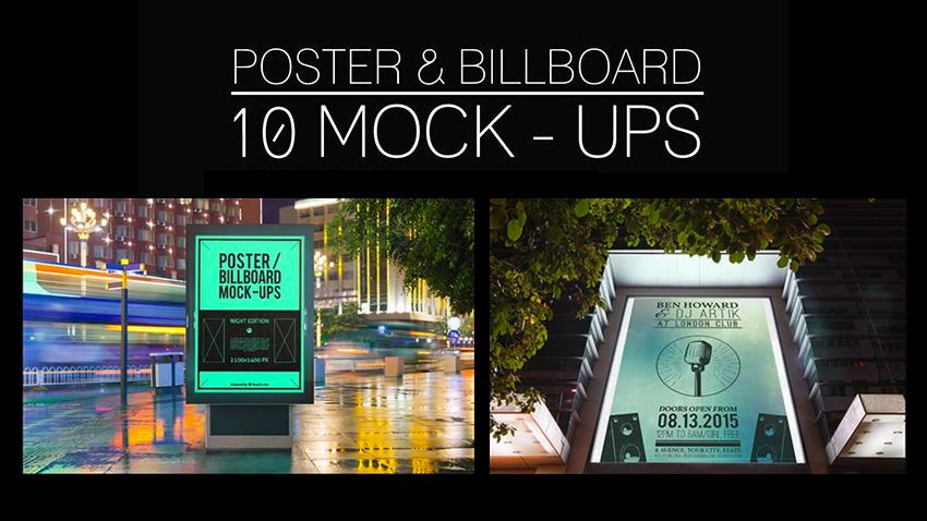10 mockups d'affiches, abribus et panneaux