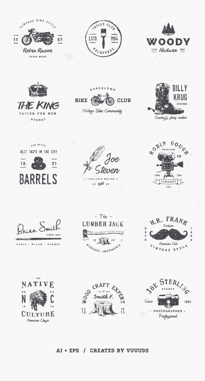 15 logos vintage illustrator