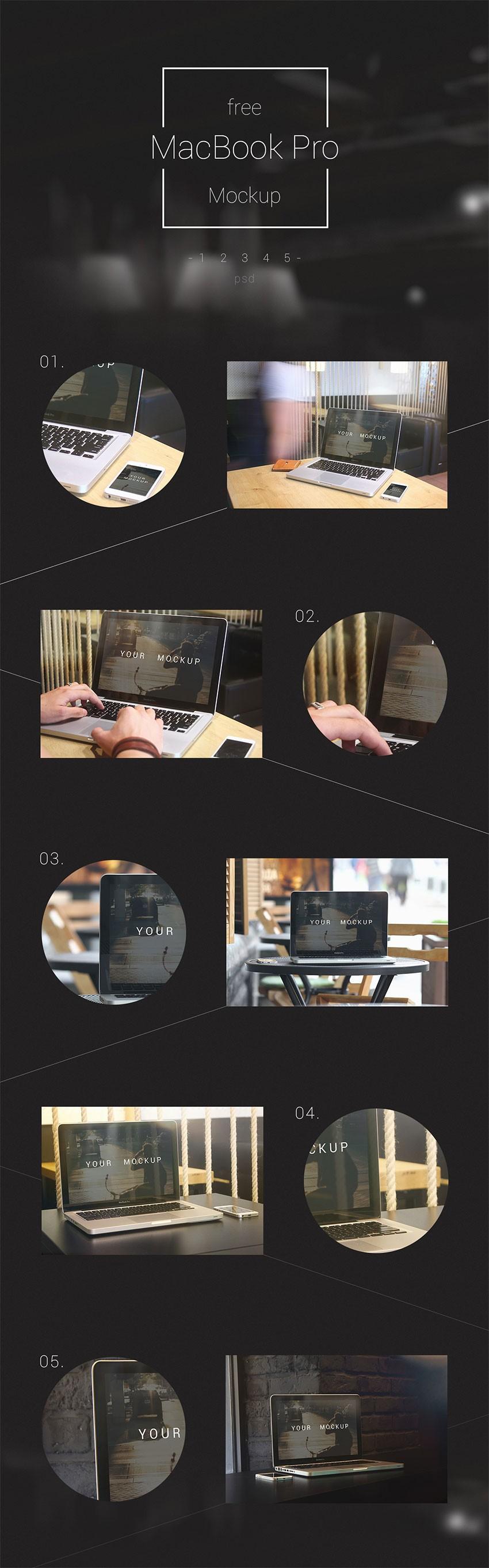 5 mockups macbook pro