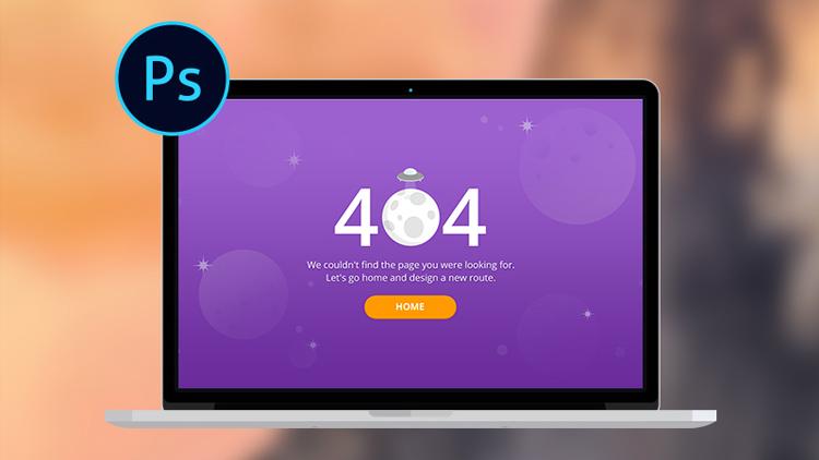 Template 404 Photoshop d'une erreur 404 pour votre site