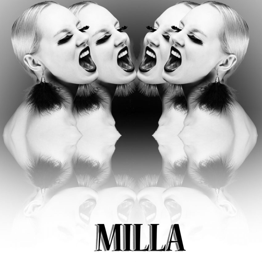 Milla : Image en noir et blanc avec effet de miroir.