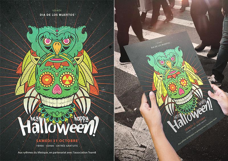 rendu-affiche-halloween-el-dia-de-los-muertos