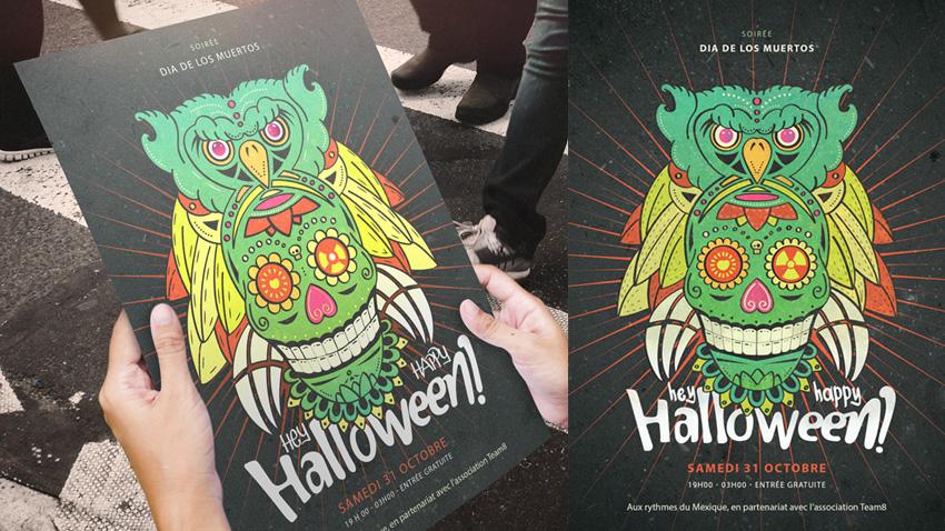 Tuto Illustrator - Affiche dia de los muertos pour halloween