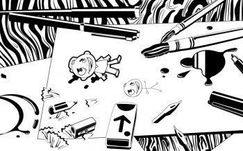 Illustration vectorielle Noir et Blanc de mon plan de travail