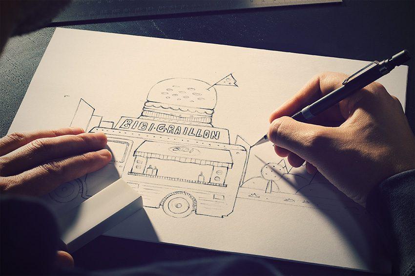 dessin food truck bibi graillon