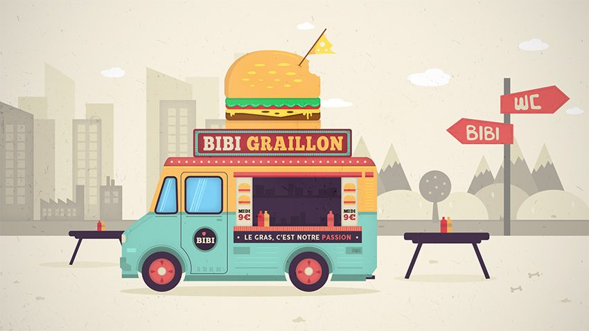 rendu tuto food truck illustration vectorielle