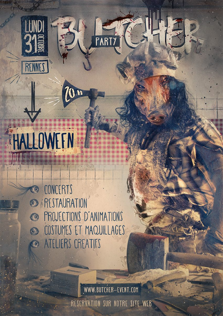 affiche butcher party halloween