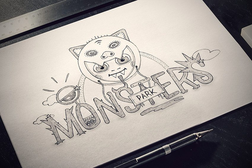 dessin monsters park