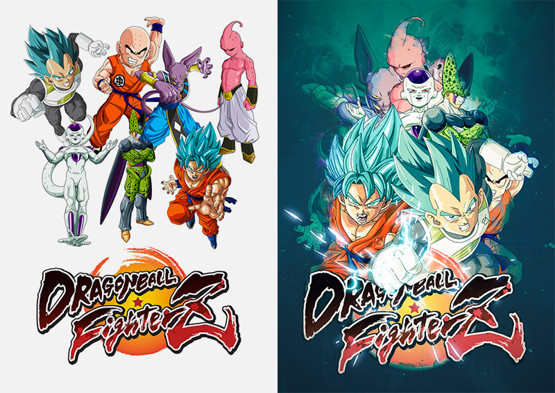 rendu tuto photoshop affiche dragon ball fighterz