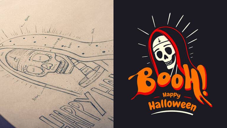 tuto simplification logo Halloween illustrator
