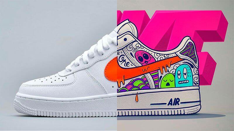 Nike AIR Force 1 en doodle art avec Procreate