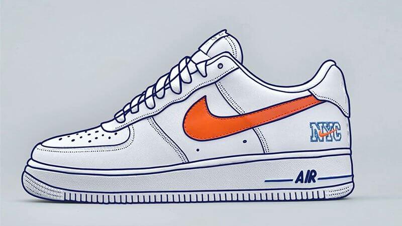 Dessiner les contours de la Nike Air Force 1