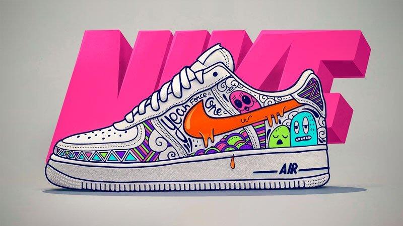 Rendu final de la Nike Air force 1 en doodle art