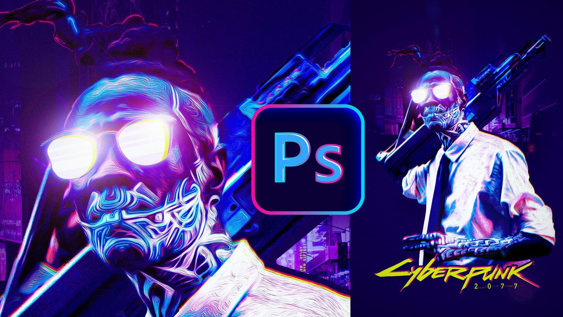 tuto affiche effet cyberpunk photoshop 2021