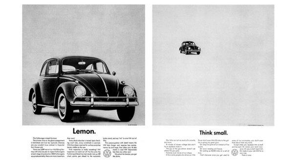 Futura utilisée dans les anciennes publicités pour la Coccinelle de Volkswagen